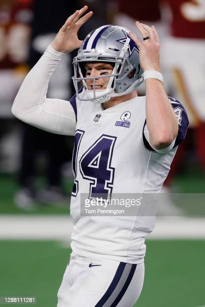 Andy Dalton of the Dallas Cowboys reacts during the third quarter of a game against the Washington Football Team at AT&T Stadium on November 26, 2020...