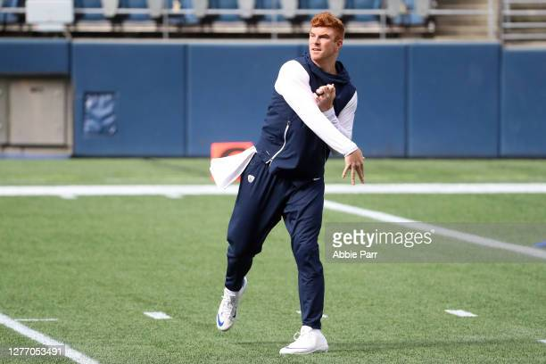 Andy Dalton of the Dallas Cowboys warms up before their game against the Seattle Seahawks at CenturyLink Field on September 27, 2020 in Seattle,...