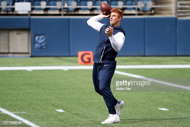 Andy Dalton of the Dallas Cowboys warms up prior to the game against the Seattle Seahawks at CenturyLink Field on September 27, 2020 in Seattle,...