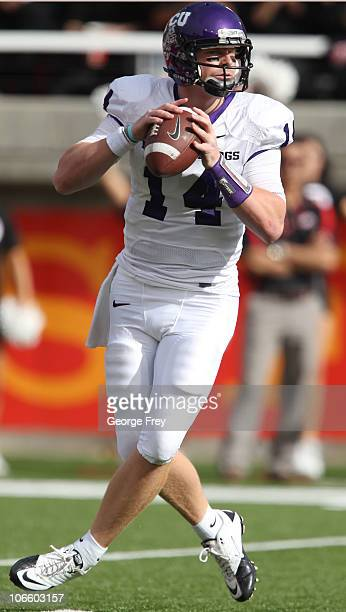 Andy Dalton of the TCU Horned Frogs looks to pass during a game against the Utah Utes during the first half of an NCAA football game November 6 2010...