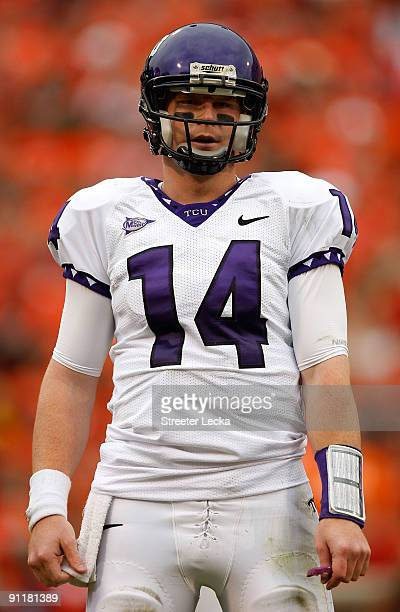 Andy Dalton of the TCU Horned Frogs looks to the sidelines against the Clemson Tigers during their game at Memorial Stadium on September 26 2009 in...