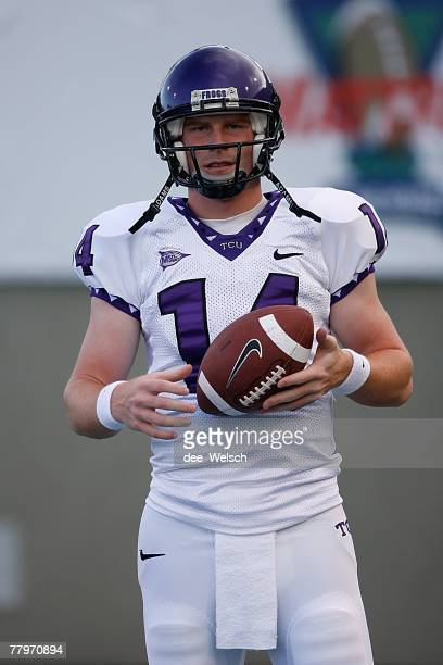 Andy Dalton of the Texas Christian University Horned Frogs looks to pass during the game against the Air Force Falcons at Falcon Stadium on September...