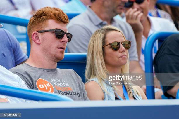 Andy Dalton quarterback of the Cincinnati Bengals watches the match between Simona Halep of Romania and Kiki Bertens of the Netherlands during the...