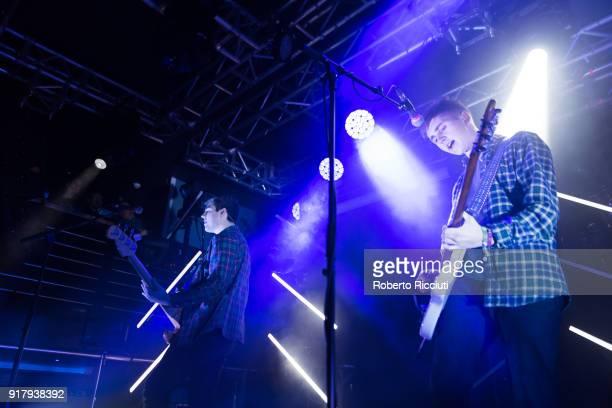 Andy Davidson and Kiaran Crook of The Sherlocks perform on stage at The Liquid Room on February 13 2018 in Edinburgh Scotland