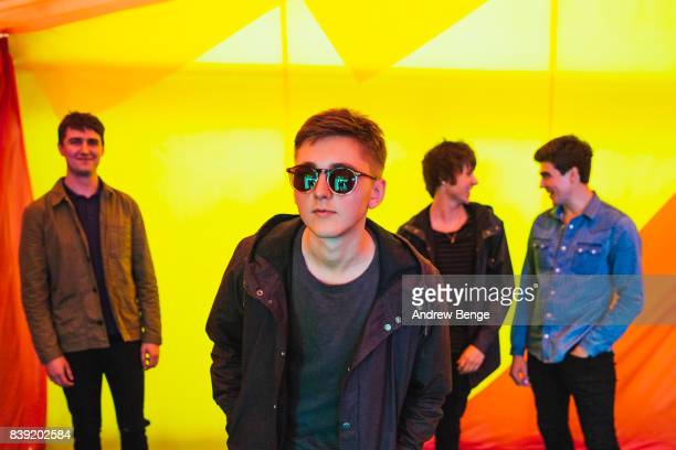 Andy Davidson, Brandon Crook, Kiaran Crook, Josh Davidson of The Shelocks post backstage during day 1 at Leeds Festival at Bramhall Park on August...