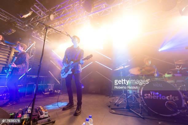 Andy Davidson Kiaran Crook and Brandon Crook of The Sherlocks perform on stage at The Liquid Room on February 13 2018 in Edinburgh Scotland