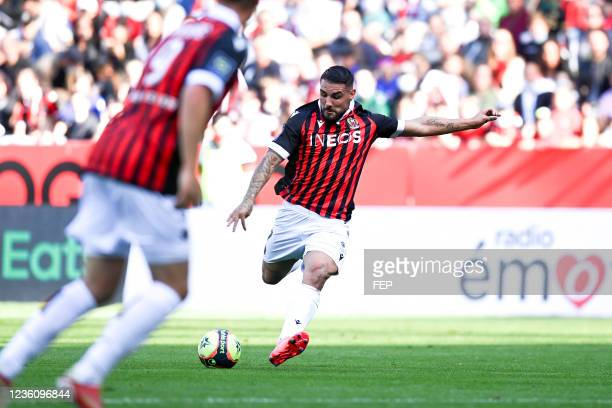 Andy DELORT during the Ligue 1 Uber Eats match between Nice and Lyon at Allianz Riviera on October 24, 2021 in Nice, France.