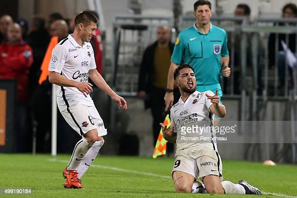 Andy Delort for Stade Malherbe de Caen reacts after his goal during the French Ligue 1 game between FC Girondins de Bordeaux and Stade Malherbe de...