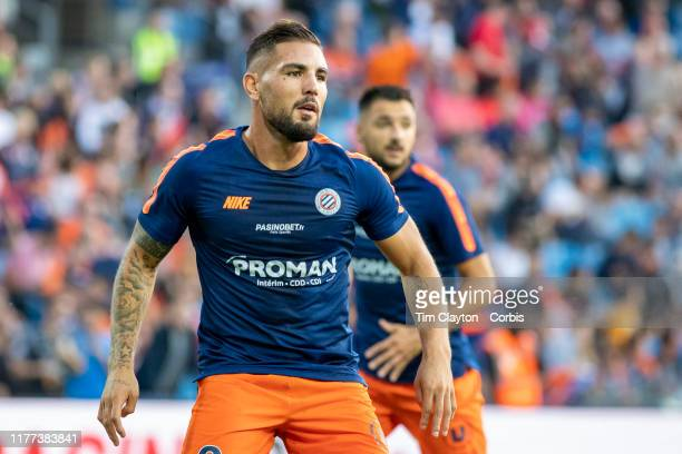 Andy Delort of Montpellier and Gaëtan Laborde of Montpellier during warm up before the Montpellier V Nimes French Ligue 1 regular season match at...