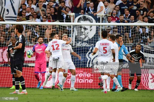 Andy Delort of Montpellier celebrates a goal with Jordan Ferri during the Ligue 1 match between Bordeaux and Montpellier at Stade Matmut Atlantique...
