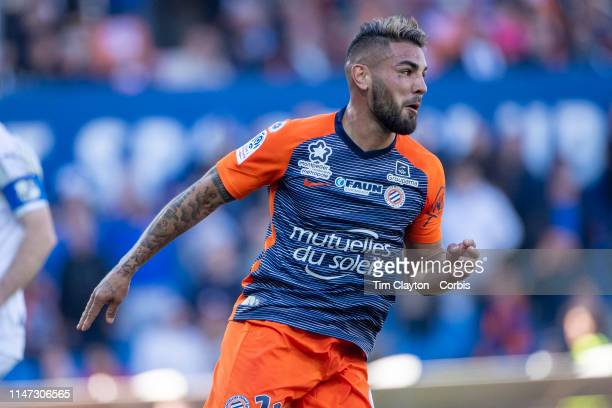 Andy Delort of Montpellier celebrates after scoring a goal which was ruled out by VAR during the Montpellier Vs SC Amiens French Ligue 1 regular...