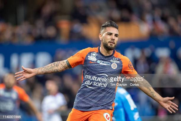 Andy Delort of Montpellier celebrates after scoring his sides first goal during the Montpellier V Guingamp French Ligue 1 regular season match at...