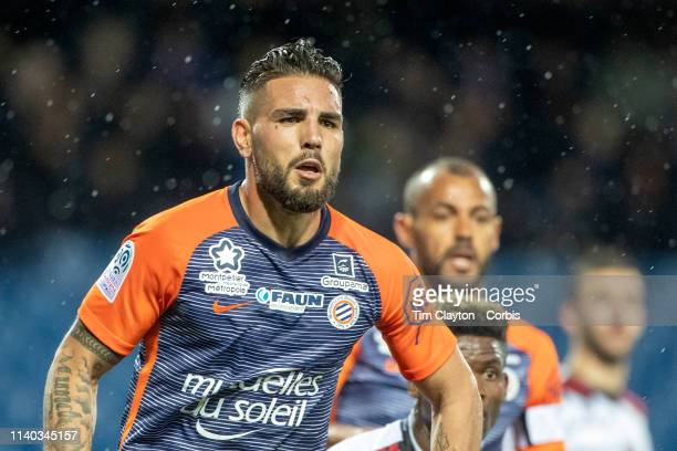 Andy Delort of Montpellier during the Montpellier V Guingamp French Ligue 1 regular season match at Stade de la Mosson on April 3rd 2019 in...