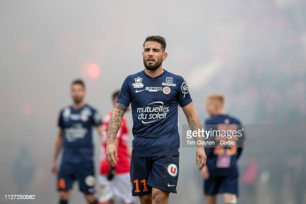 Andy Delort of Montpellier during the Nimes V Montpellier French Ligue 1 regular season match at Stade des Costières on February 3rd 2019 Nimes France