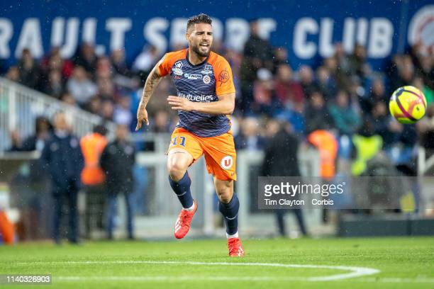 April 3: Andy Delort of Montpellier in action during the Montpellier V Guingamp, French Ligue 1 regular season match at Stade de la Mosson on April...