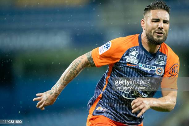 Andy Delort of Montpellier in action during the Montpellier V Guingamp French Ligue 1 regular season match at Stade de la Mosson on April 3rd 2019 in...