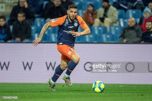 Andy Delort of Montpellier in action during the Montpellier V Metz French Ligue 1 regular season match at Stade de la Mosson on February 5th 2020 in...