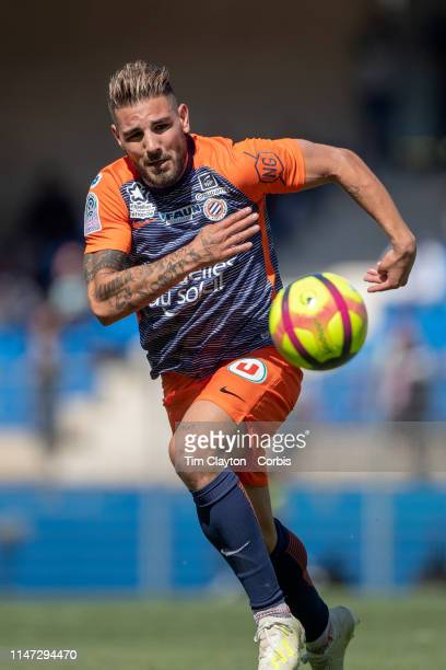 Andy Delort of Montpellier in action during the Montpellier Vs SC Amiens French Ligue 1 regular season match at Stade de la Mosson on May 5th 2019 in...