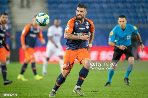 Andy Delort of Montpellier in action during the Montpellier Vs SC Amiens French Ligue 1 regular season match at Stade de la Mosson on November 30th...