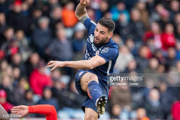 Andy Delort of Montpellier in action during the Nimes V Montpellier French Ligue 1 regular season match at Stade des Costières on February 3rd 2019...
