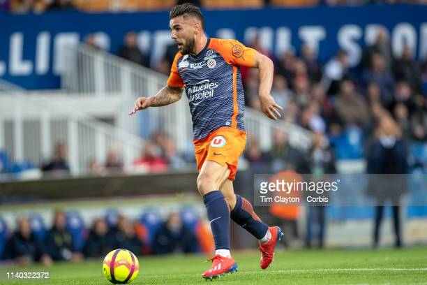 Andy Delort of Montpellier moves in to score his sides first goal during the Montpellier V Guingamp French Ligue 1 regular season match at Stade de...