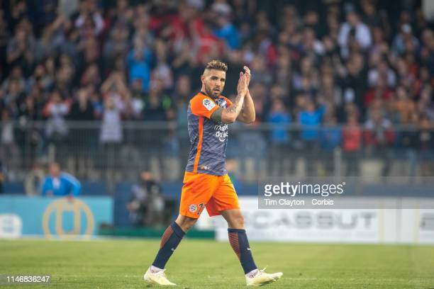 Andy Delort of Montpellier salutes the crowd during the Montpellier Vs Paris SaintGermain French Ligue 1 regular season match at Stade de la Mosson...