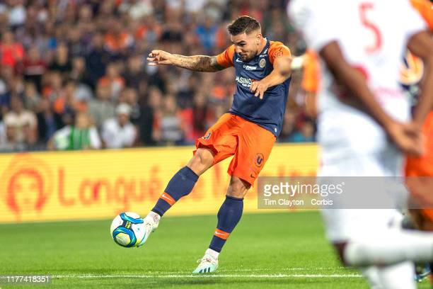 Andy Delort of Montpellier shoots during the Montpellier V Nimes French Ligue 1 regular season match at Stade de la Mosson on September 25th 2019 in...
