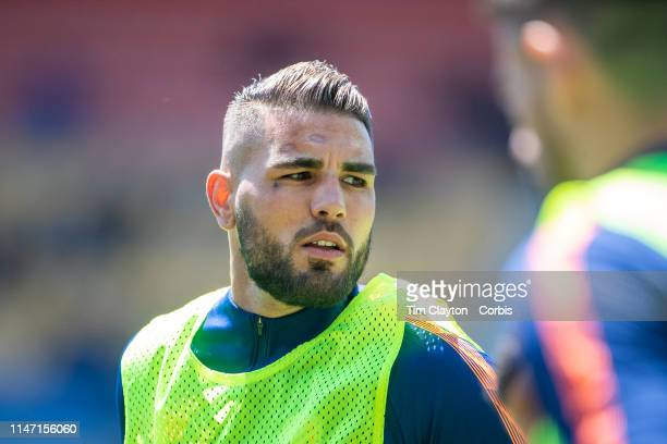 Andy Delort of Montpellier warming up with the team before the Montpellier Vs SC Amiens French Ligue 1 regular season match at Stade de la Mosson on...