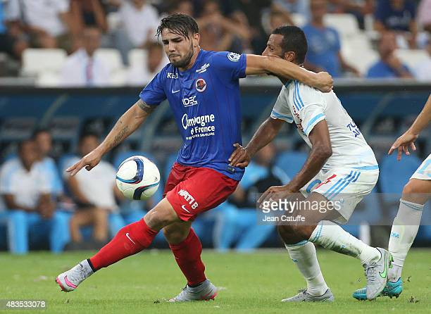 Andy Delort of SM Caen in action during the French Ligue 1 match between Olympique de Marseille and SM Caen at Stade Velodrome on August 8 2015 in...