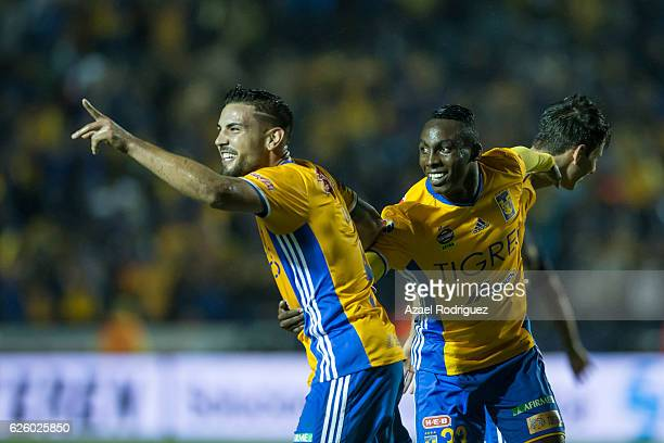 Andy Delort of Tigres celebrate with teammates after scoring his team's fifth goal during the quarter finals second leg match between Tigres UANL and...