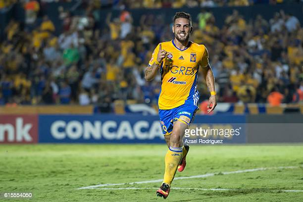 Andy Delort of Tigres celebrates after scoring his team's third goal during a match between Tigres UANL and Herediano as part of the CONCACAF...