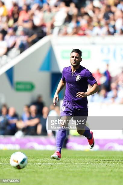 Andy Delort of Toulouse during the Ligue 1 match between Toulouse FC and Olympique de Marseille at Stadium Municipal on April 9, 2017 in Toulouse,...