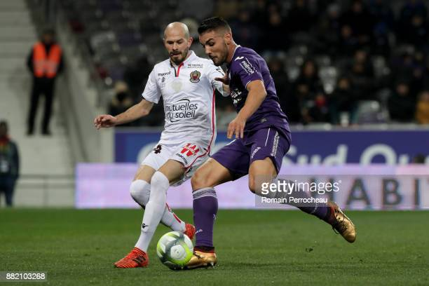 Andy Delort of Toulouse in action during the Ligue 1 match between Toulouse and OGC Nice at Stadium Municipal on November 29 2017 in Toulouse