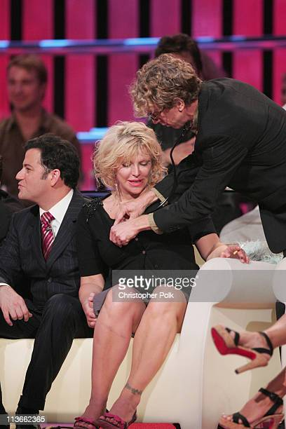 Andy Dick and Courtney Love during Comedy Central Roast of Pamela Anderson Show at Sony Studios in Culver City California United States