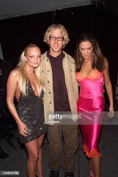 Andy Dick Emma Bunton Victoria Beckham during 2000 VH1 Vogue Fashion Awards Arrivals at Madison Square Garden in New York City New York United States