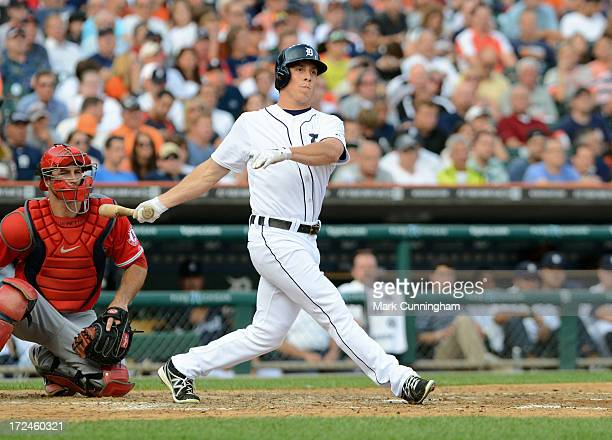 Andy Dirks of the Detroit Tigers bats during the game against the Los Angeles Angels of Anaheim at Comerica Park on June 26 2013 in Detroit Michigan...
