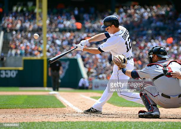 Andy Dirks of the Detroit Tigers bats during the game against the Minnesota Twins at Comerica Park on May 26 2013 in Detroit Michigan The Tigers...