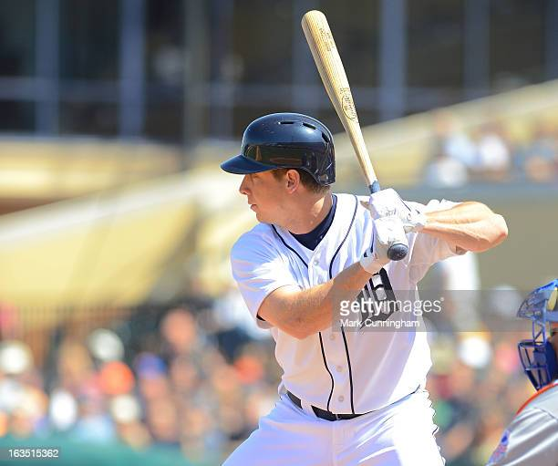 Andy Dirks of the Detroit Tigers bats during the spring training game against the New York Mets at Joker Marchant Stadium on March 8 2013 in Lakeland...
