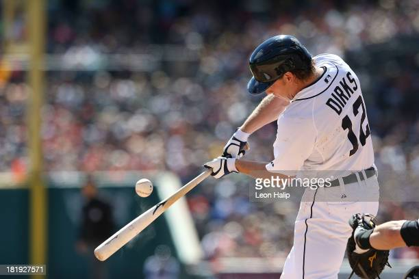 Andy Dirks of the Detroit Tigers bats in the first inning of the game against the Chicago White Sox at Comerica Park on September 22 2013 in Detroit...