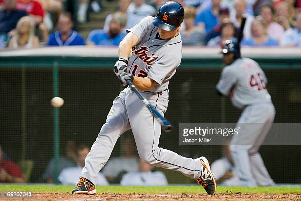 Andy Dirks of the Detroit Tigers hits a solo home run during the sixth inning against the Cleveland Indians at Progressive Field on May 21 2013 in...