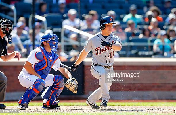Andy Dirks of the Detroit Tigers in action against the New York Mets at Citi Field on August 25 2013 in the Flushing neighborhood of the Queens...