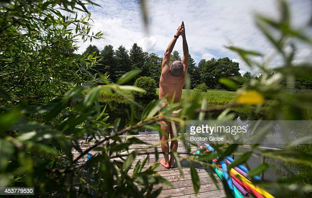 Andy Elder of Hillsdale New York a retired packaging engineer goes skinnydipping and then practices yoga at Abbott's Glen Resort a naturist vacation...