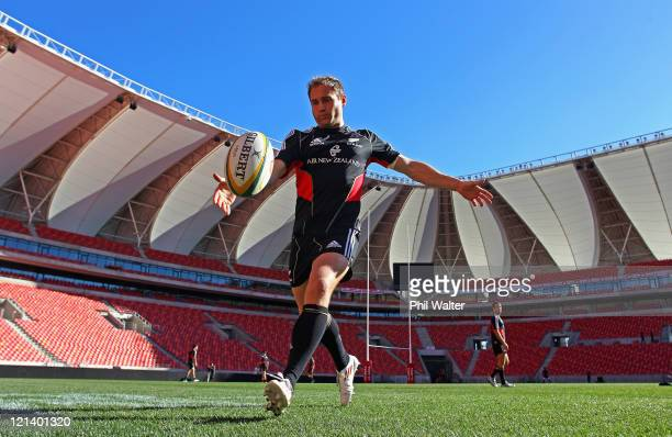Andy Ellis of the All Blacks kicks during the New Zealand All Blacks Captains Run at the Nelson Mandela Bay Stadium on August 19, 2011 in Port...