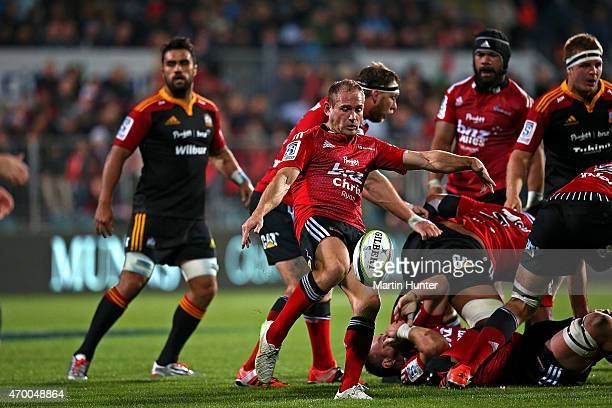 Andy Ellis of the Crusaders looks to kick from a ruck during the round 10 Super Rugby match between the Crusaders and the Chiefs at AMI Stadium on...