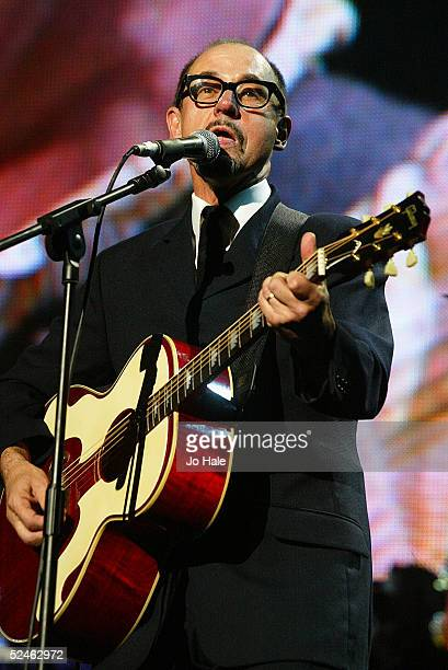 Andy Fairweather Low performs on stage as part of The Miller Strat Pack concert at Wembley Arena on September 24 2004 in London The event pays homage...