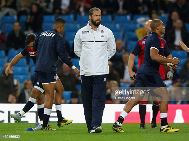 Andy Farrell Backs Coach of England looks on prior to the 2015 Rugby World Cup Pool A match between England and Uruguay at Manchester City Stadium on...