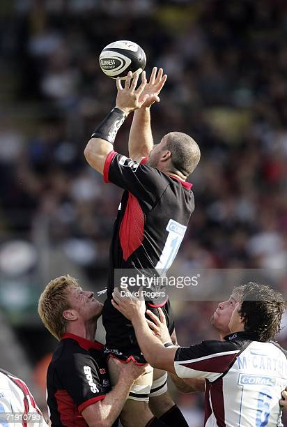 Andy Farrell of Saracens catches the ball in the lineout during his Premiership debut in the Guinness Premiership match between Saracens and...
