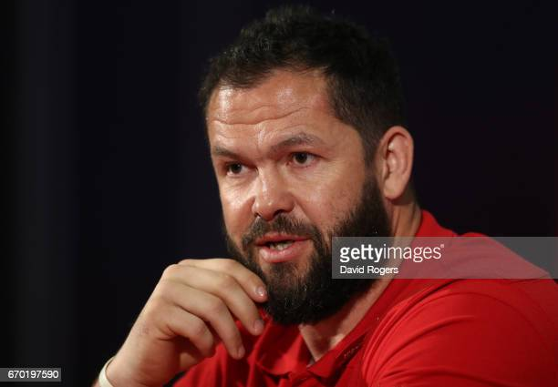 Andy Farrell speaks to the media during the British and Irish Lions tour squad announcement at the Hilton London Syon Park Hotel on April 19 2017 in...
