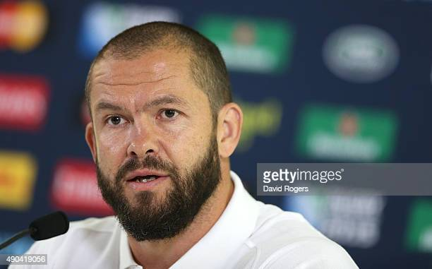 Andy Farrell the England backs coach faces the media during the England press conference at Pennyhill Park on September 28 2015 in Bagshot England