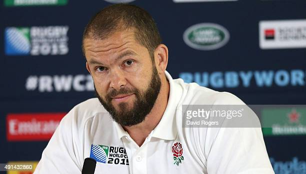 Andy Farrell the England backs coach faces the media during the England media session at Pennyhill Park on October 5 2015 in Bagshot England
